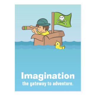 Imagining an adventure with cardboard boxes postcard