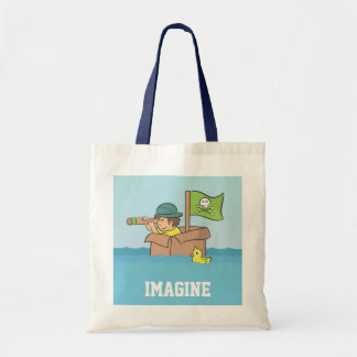Imagining an adventure with cardboard boxes tote bag