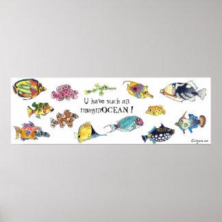 ImaginOCEAN Cartoon Fish Art Posters