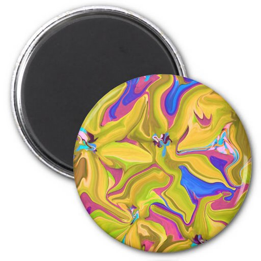 Imán abstracto amarillo del arte del refrigerador
