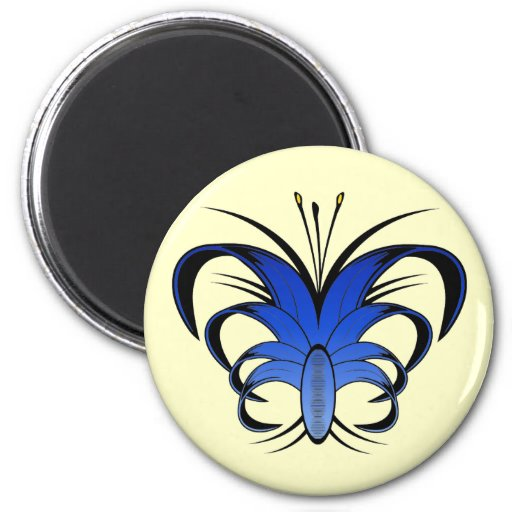 Imán abstracto azul del refrigerador de la flor de