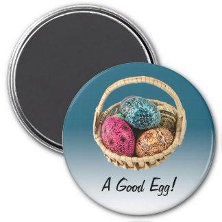Imán adornado del huevo en azul