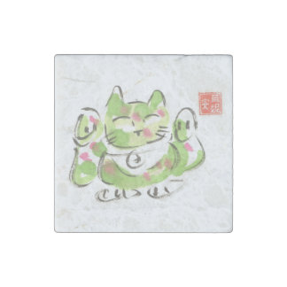 Imán afortunado verde de la piedra del gato de imán de piedra