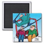 Imán agradable del dibujo animado de los esquiador