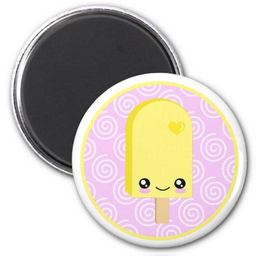 Imán amarillo bonito de Kawaii del Popsicle del