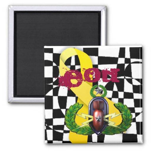 Imán amarillo de la insignia de la cinta del EOD