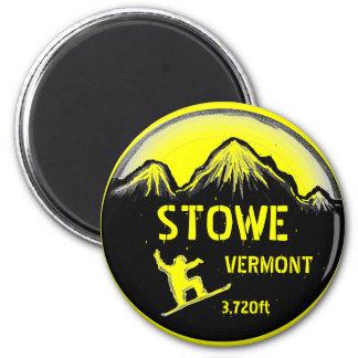 Imán amarillo del arte de la snowboard de Stowe Ve