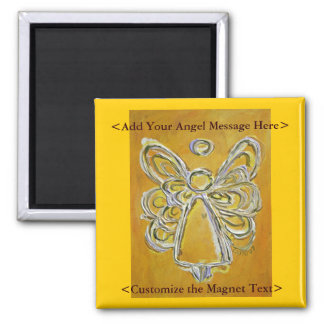 Imán amarillo del arte del ángel con el mensaje mo