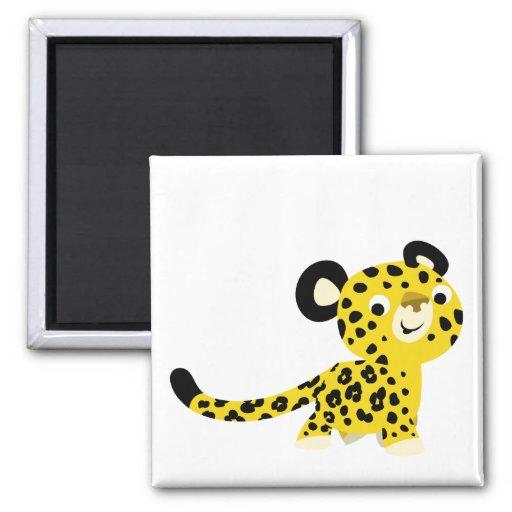 Imán amistoso del leopardo del dibujo animado lind