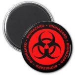 Imán amonestador del Biohazard rojo