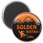 Imán anaranjado del arte de la snowboard de Solden