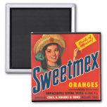 Imán anaranjado Dulce-Mex de la etiqueta del cajón
