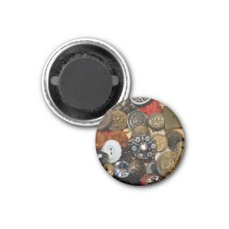 Imán antiguo del collage del botón (redondo)