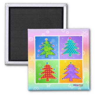 Imán - árboles de navidad del arte pop