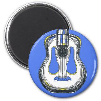 Imán azul de la cara del monstruo de la guitarra