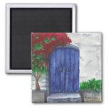 imán azul de la puerta