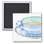 Imán azul de la taza de té