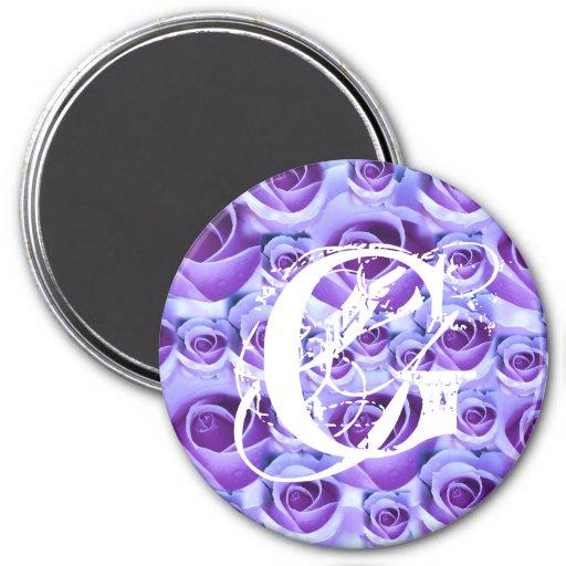 Imán azul de los rosas de G de la letra del monogr
