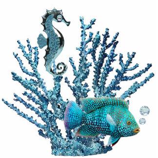 Imán azul del arrecife de coral escultura fotográfica