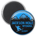 Imán azul del arte de la snowboard de Jackson Hole