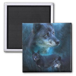 Imán azul del arte del lobo