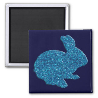 Imán azul del conejito de pascua de la silueta del