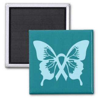 Imán azul del cuadrado de la mariposa del cáncer