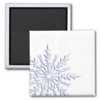Imán azul del cuadrado del copo de nieve