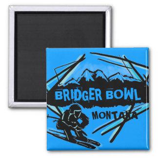 Imán azul del esquiador de Montana del cuenco de B