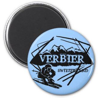 Imán azul del logotipo del esquí de Verbier Suiza
