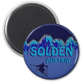 Imán azul del logotipo del esquí del tema de Solde