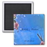 Imán azul del recuerdo del boda