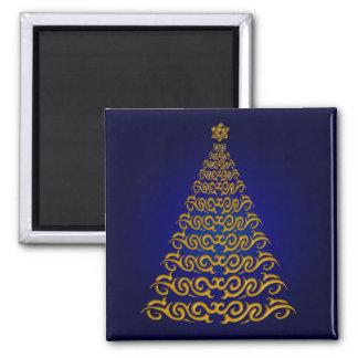 Imán azul elegante del árbol de navidad