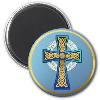 Imán azul grande de la cruz céltica