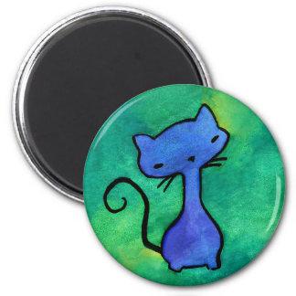 Imán azul lindo del gato del gatito