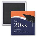 Imán azul y anaranjado adaptable de la graduación