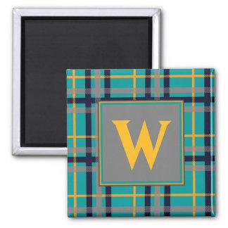 Imán azul y anaranjado de la tela escocesa
