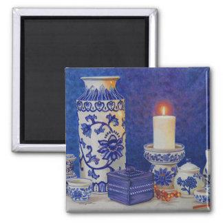 imán azul y blanco