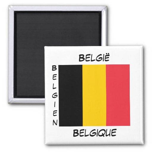 Imán belga del cuadrado de la bandera de las idiom