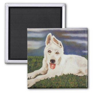Imán blanco del perrito del pastor alemán