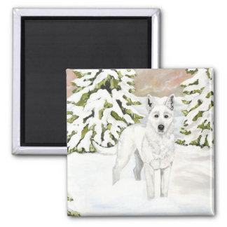 Imán blanco del perro de pastor alemán