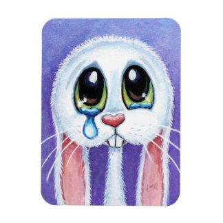 Imán blanco triste del premio del arte del conejo