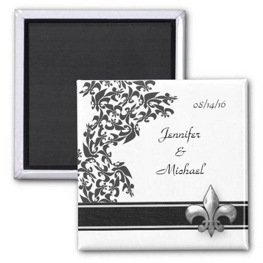 Imán blanco y negro del boda del damasco de la flo