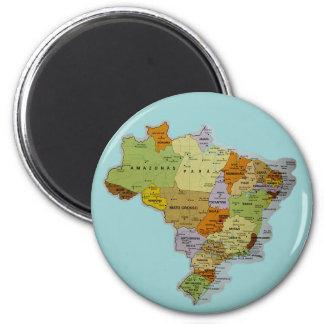 Imán brasileño del refrigerador del mapa