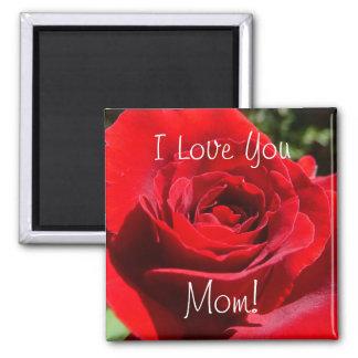 Imán brillante de la mamá del rosa rojo