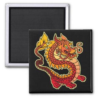 Imán chino rojo del dragón
