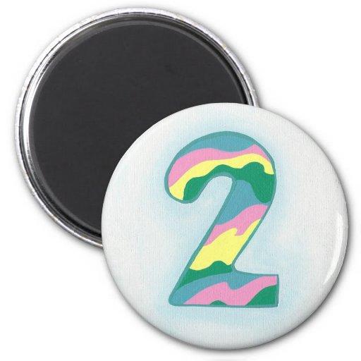 Imán colorido de número dos por CherylsArt