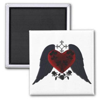 Imán con alas negro del corazón del gótico