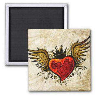 Imán con alas tatuaje del corazón del vintage