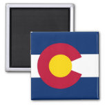 Imán con la bandera del estado de Colorado - los E